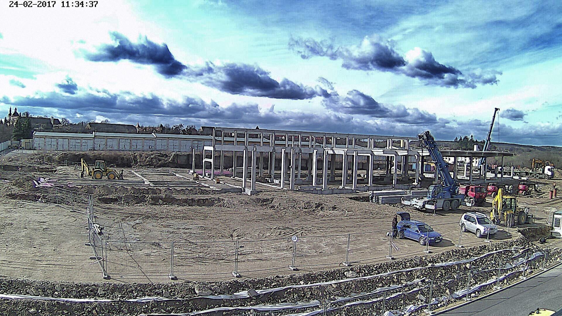 Záběr z kamery na stavbě